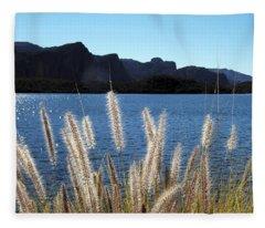 Apache Lake Superstition Mountains Fleece Blanket