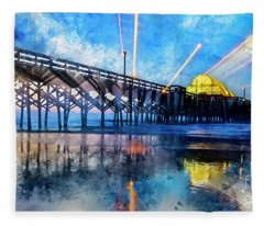 Apache Pier Digital Watercolor Fleece Blanket