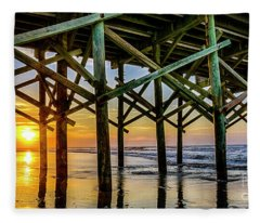 Apache Pier Sunrise Fleece Blanket