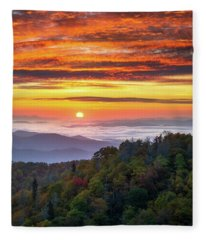 Appalachian Mountains Asheville North Carolina Blue Ridge Parkway Nc Scenic Landscape Fleece Blanket