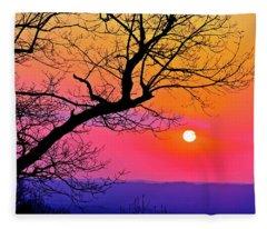 Appalcahian Sunset Tree Silhouette  #1 Fleece Blanket