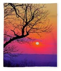 Appalcahian Sunset Tree Silhouette #2 Fleece Blanket