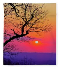 Appalcahian Sunset Tree Silhouette #2 Fleece Blanket