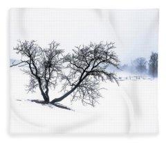 Apple Tree And Winter Fog Fleece Blanket