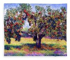Apple Tree Orchard Fleece Blanket