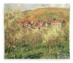 Apple Trees In Blossom Fleece Blanket