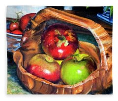 Apples In A Burled Bowl Fleece Blanket