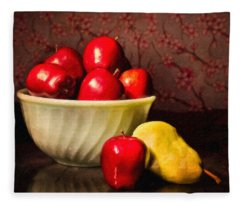 Apples In Bowl With Pear Fleece Blanket