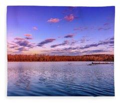 April Evening At The Lake Fleece Blanket