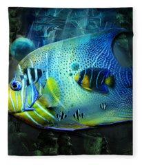 Aqua Fantasy Art World Fleece Blanket