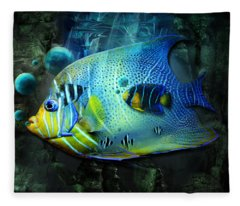 Aqua Fantasy Art World Fleece Blanket
