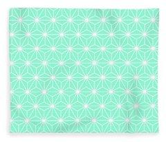 Aqua Geometric Flowers And Florals Isosceles Triangle Fleece Blanket