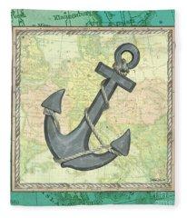 Aqua Maritime Anchor Fleece Blanket