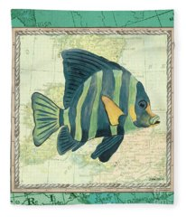 Aqua Maritime Fish Fleece Blanket