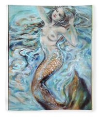 Aqua Mermaid Natural Fleece Blanket
