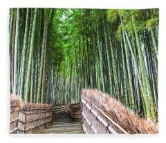 Arashiyama's Bamboo Groves Fleece Blanket