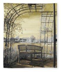 Arboretum Trellis Bench Fleece Blanket
