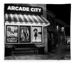 Arcade City In Black And White Fleece Blanket