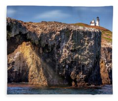 Arch Rock And Lighthouse Fleece Blanket