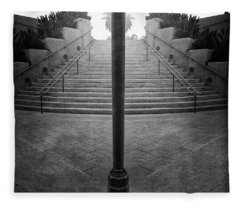 Arch Steps And Light Pole From Parking Structure Fleece Blanket