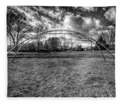 Arch Swing Set In The Park 76 In Black And White Fleece Blanket