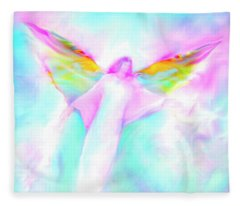 Archangel Gabriel In Flight Fleece Blanket