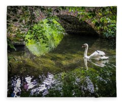 Arched Bridge And Swan At Doneraile Park Fleece Blanket