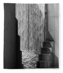 Architectural Waterfall In Black And White Fleece Blanket