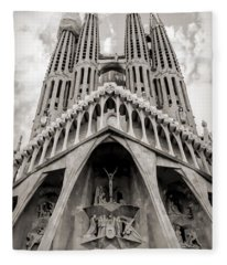 Architecture Antoni Gaudi La Sagrada Familia Barcelona Spain Sepia  Fleece Blanket