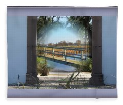 Archway To Wooden Bridge Montage Fleece Blanket