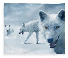 Arctic Wolves Fleece Blanket