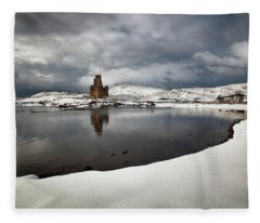 Ardvreck Castle In Winter Fleece Blanket