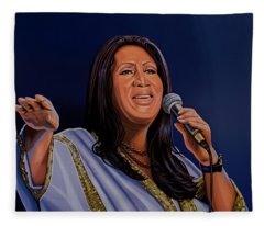 Aretha Franklin Painting Fleece Blanket