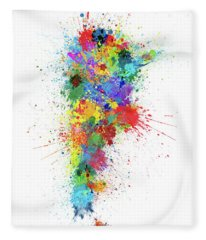 Argentina Paint Splashes Map Fleece Blanket