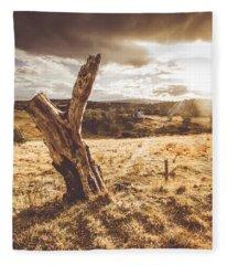 Arid Tasmania Bush Landscape Fleece Blanket