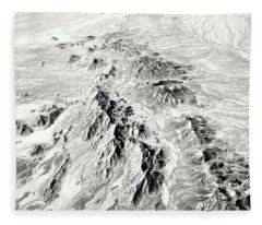 Arizona Desert In Black And White Fleece Blanket