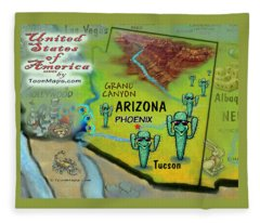 Arizona Fun Map Fleece Blanket