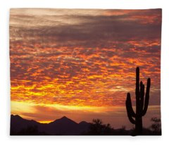Arizona November Sunrise With Saguaro   Fleece Blanket