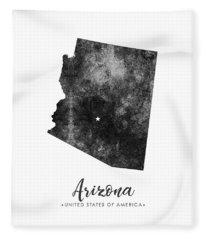 Arizona State Map Art - Grunge Silhouette Fleece Blanket