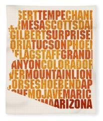 Arizona State Outline Word Map Fleece Blanket
