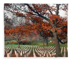 Arlington Cemetery In Fall Fleece Blanket