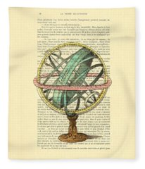 Armillary Sphere In Color Antique Illustration On Book Page Fleece Blanket
