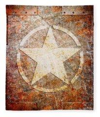 Army Star On Rust Fleece Blanket