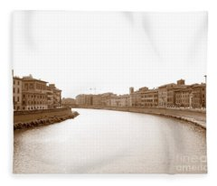 Arno River In Pisa Fleece Blanket