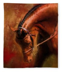 Around The First Turn Equestrian Art Fleece Blanket