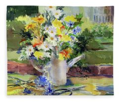 Cut Flowers Fleece Blanket