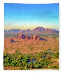 Arriving In Phoenix Digital Watercolor Fleece Blanket