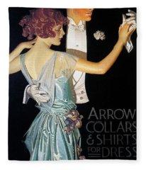 Arrow Shirt Collar Ad, 1923 Fleece Blanket