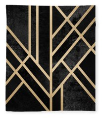 Art Deco Black Fleece Blanket