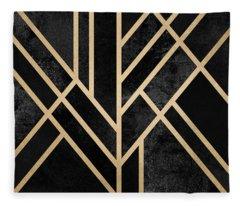Art Deco Black Fleece Blanket